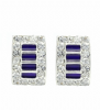 Elegant Cubic Zirconia & Purple Enamel Rectangle Shaped Clip On Earrings - Party Earrings